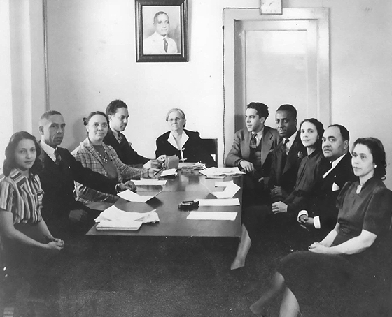 D&H Board Meeting (Mattie B. Harris seated at the head of the table)